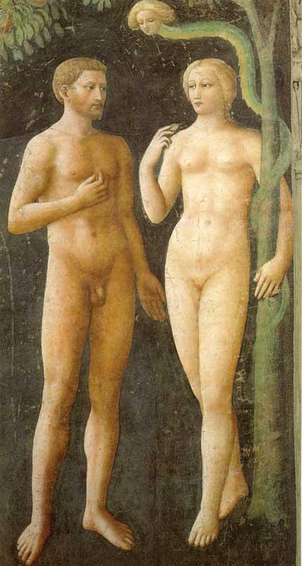 Cappella Brancacci Tentazione di Adamo ed Eva di Masolino